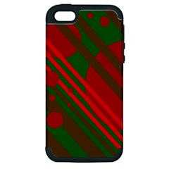 Red and green abstract design Apple iPhone 5 Hardshell Case (PC+Silicone)