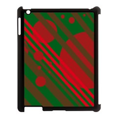 Red and green abstract design Apple iPad 3/4 Case (Black)