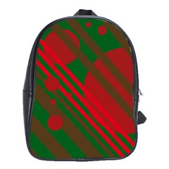 Red and green abstract design School Bags (XL)