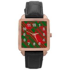 Red and green abstract design Rose Gold Leather Watch