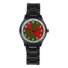 Red and green abstract design Stainless Steel Round Watch