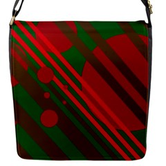 Red and green abstract design Flap Messenger Bag (S)
