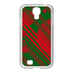 Red and green abstract design Samsung GALAXY S4 I9500/ I9505 Case (White)