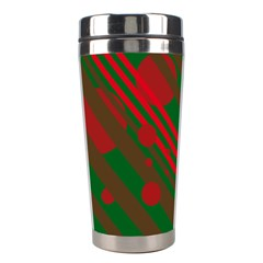 Red and green abstract design Stainless Steel Travel Tumblers