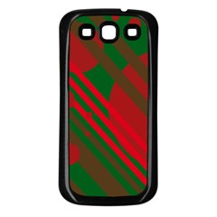 Red and green abstract design Samsung Galaxy S3 Back Case (Black)