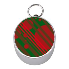 Red and green abstract design Mini Silver Compasses