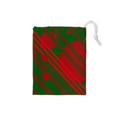 Red and green abstract design Drawstring Pouches (Small)