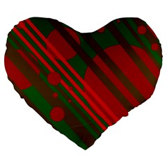 Red and green abstract design Large 19  Premium Flano Heart Shape Cushions