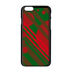 Red and green abstract design Apple iPhone 6/6S Black Enamel Case