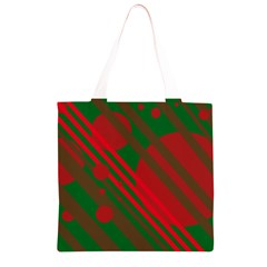 Red and green abstract design Grocery Light Tote Bag