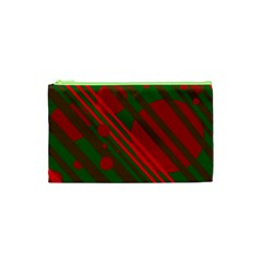 Red and green abstract design Cosmetic Bag (XS)