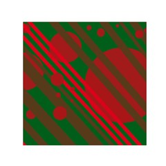 Red and green abstract design Small Satin Scarf (Square)