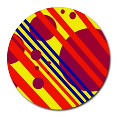 Hot circles and lines Round Mousepads