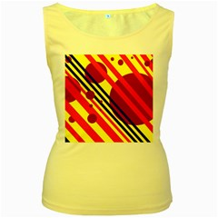 Hot circles and lines Women s Yellow Tank Top