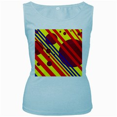 Hot circles and lines Women s Baby Blue Tank Top