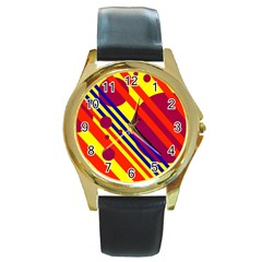 Hot circles and lines Round Gold Metal Watch