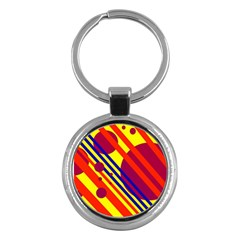 Hot circles and lines Key Chains (Round)