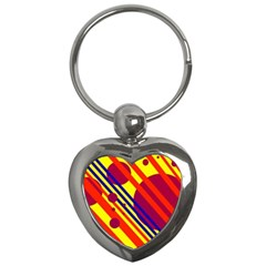 Hot circles and lines Key Chains (Heart)