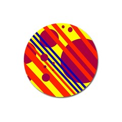 Hot circles and lines Magnet 3  (Round)