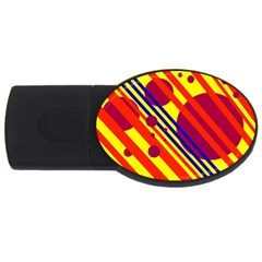 Hot circles and lines USB Flash Drive Oval (1 GB)