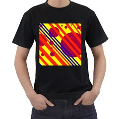 Hot circles and lines Men s T-Shirt (Black) (Two Sided)