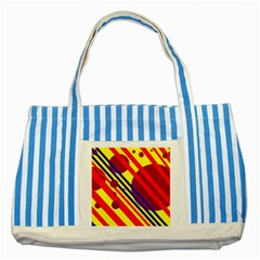 Hot circles and lines Striped Blue Tote Bag