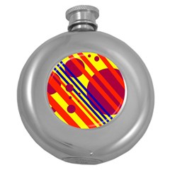 Hot circles and lines Round Hip Flask (5 oz)