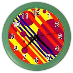Hot circles and lines Color Wall Clocks