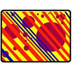 Hot circles and lines Fleece Blanket (Large)