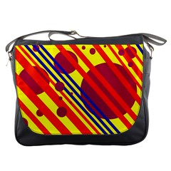 Hot circles and lines Messenger Bags