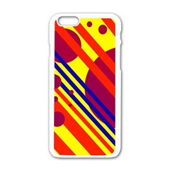 Hot circles and lines Apple iPhone 6/6S White Enamel Case