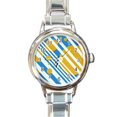 Blue, yellow and white lines and circles Round Italian Charm Watch