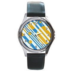 Blue, yellow and white lines and circles Round Metal Watch