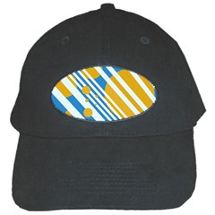 Blue, yellow and white lines and circles Black Cap