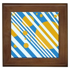 Blue, yellow and white lines and circles Framed Tiles