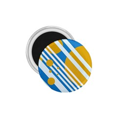 Blue, yellow and white lines and circles 1.75  Magnets