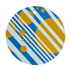 Blue, yellow and white lines and circles Ornament (Round)