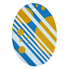 Blue, yellow and white lines and circles Ornament (Oval)