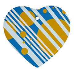 Blue, yellow and white lines and circles Ornament (Heart)