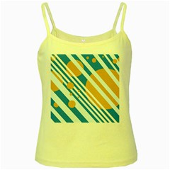 Blue, yellow and white lines and circles Yellow Spaghetti Tank