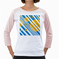 Blue, yellow and white lines and circles Girly Raglans