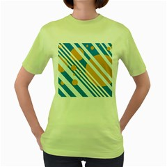 Blue, yellow and white lines and circles Women s Green T-Shirt