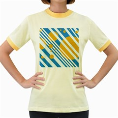 Blue, yellow and white lines and circles Women s Fitted Ringer T-Shirts