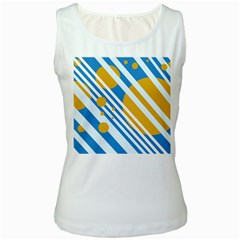 Blue, yellow and white lines and circles Women s White Tank Top