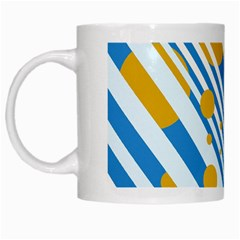 Blue, yellow and white lines and circles White Mugs