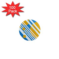 Blue, yellow and white lines and circles 1  Mini Magnets (100 pack)