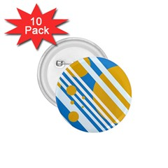 Blue, yellow and white lines and circles 1.75  Buttons (10 pack)