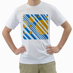 Blue, yellow and white lines and circles Men s T-Shirt (White) (Two Sided)