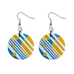 Blue, yellow and white lines and circles Mini Button Earrings