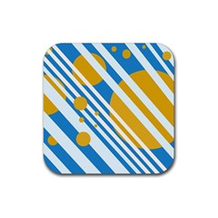 Blue, yellow and white lines and circles Rubber Square Coaster (4 pack)